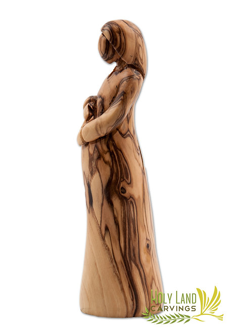 Olive Wood Pregnant Mary Statue - The Blessed Mother Carrying Baby in her Womb