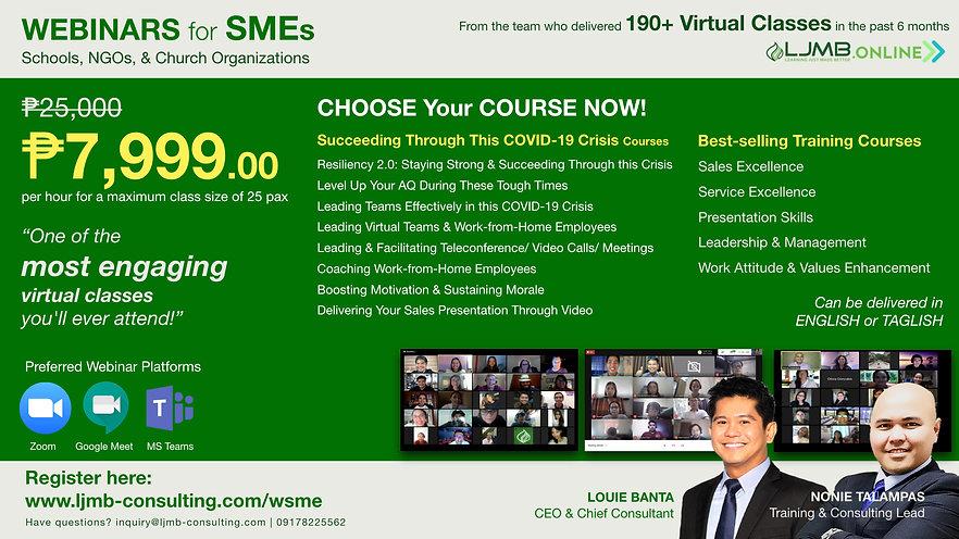 Webinars for SMEs, Schools, NGOs, Church Organizations, Leadership, COVID, Courses