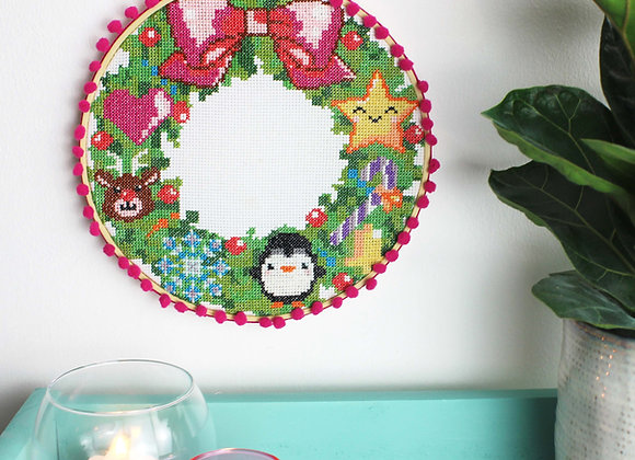 Christmas wreath cross stitch kit