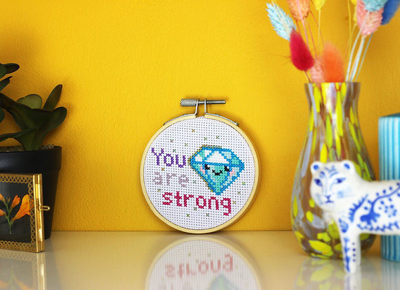 You are strong mini cross stitch kit