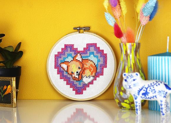 Fox heart cross stitch kit