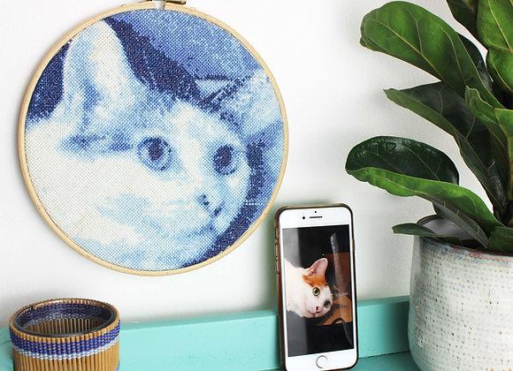Blue stitch a selfie cross stitch kit
