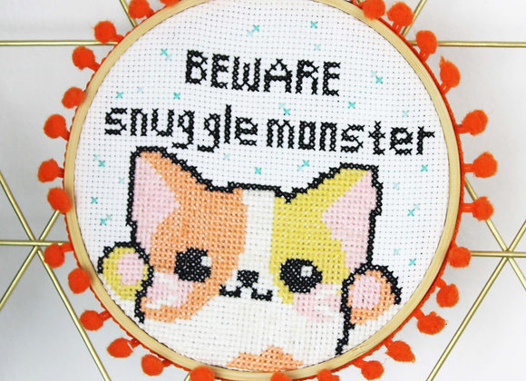 Snuggle monster cross stitch kit