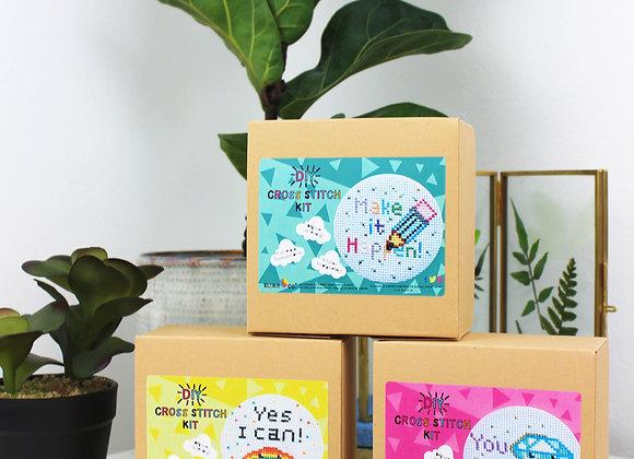 Motivational mini cross stitch kit bundle