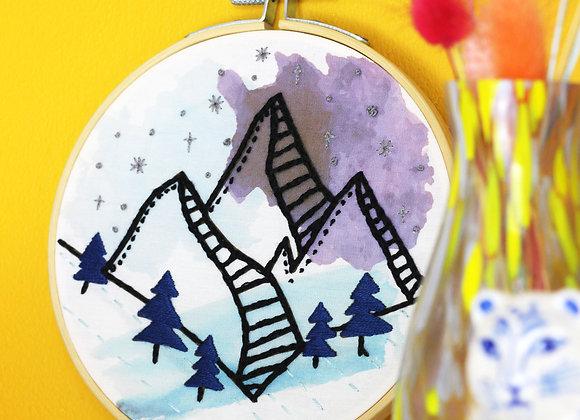 Mountain watercolour embroidery kit