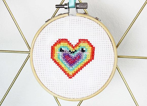 Rainbow heart mini cross stitch kit