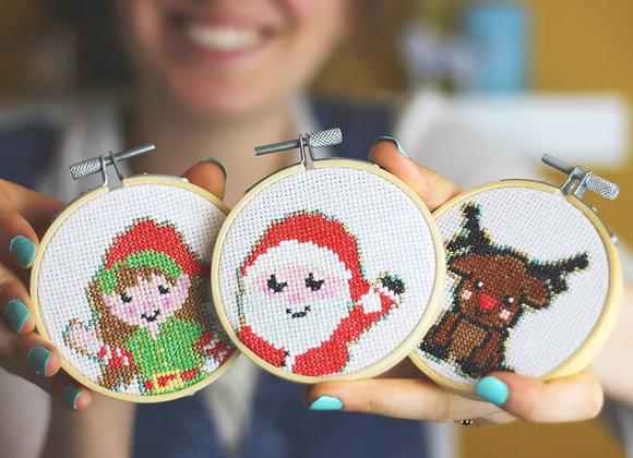 Christmas Mini Cross stitch crafting bundle