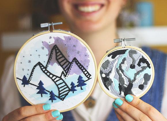 Midnight mountains embroidery kit bundle