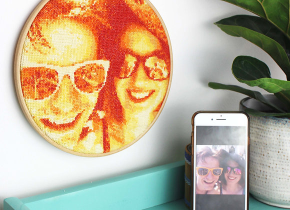 Orange stitch a selfie cross stitch kit with phone