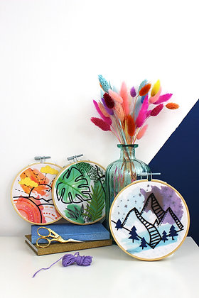 Watercolour embroidery crafting bundle