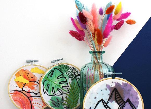Watercolour embroidery craft kit bundle