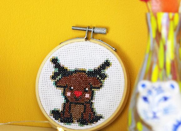 Cute reindeer mini cross stitch kit