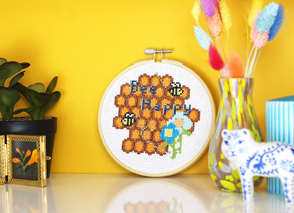 Bee happy cross stitch kit