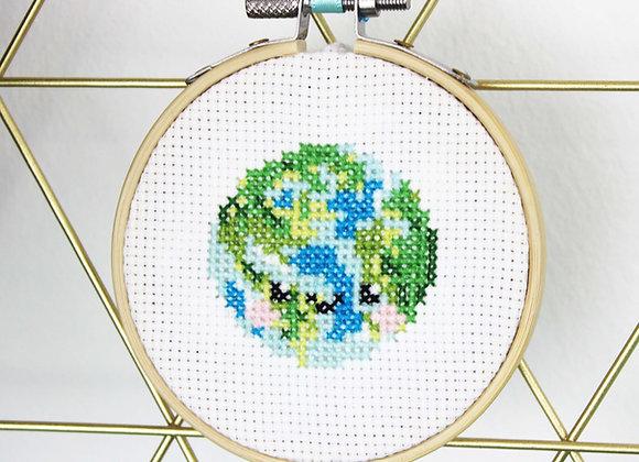 Happy earth mini cross stitch kit