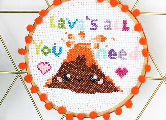 Volcano cross stitch kit