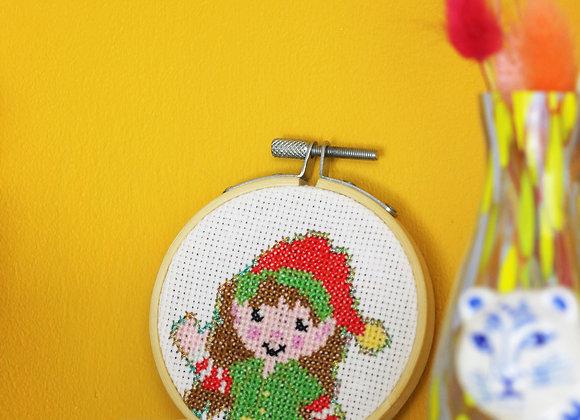 Happy elf mini cross stitch kit