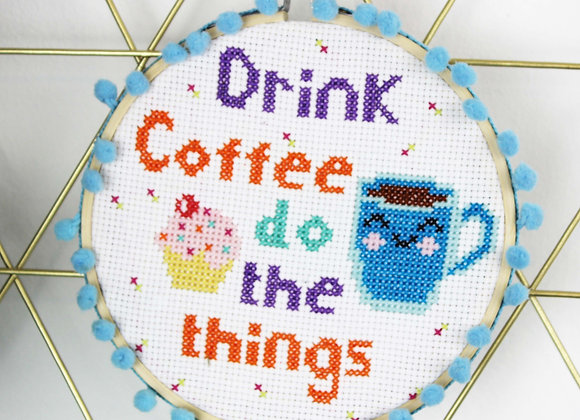 Coffee cross stitch kit