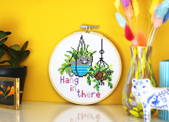 Hang in there cross stitch kit