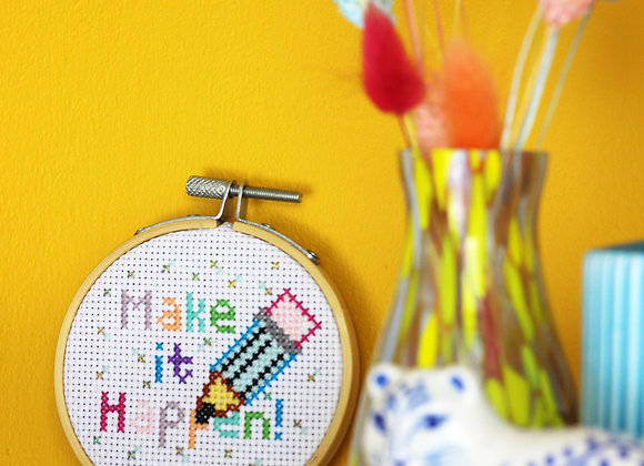 Make it happen mini cross stitch kit