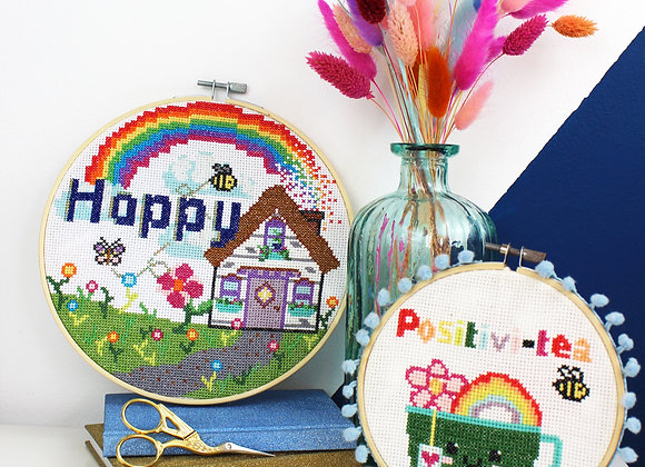 Home of positivity cross stitch kit bundle