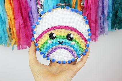 Rainbow cross stitch kit