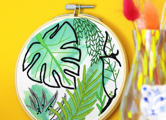 Jungle watercolour embroidery craft kit