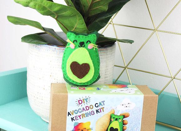 Avocado cat keyring felt kit