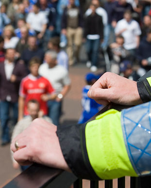 Police-officer-watching-over-football-fa