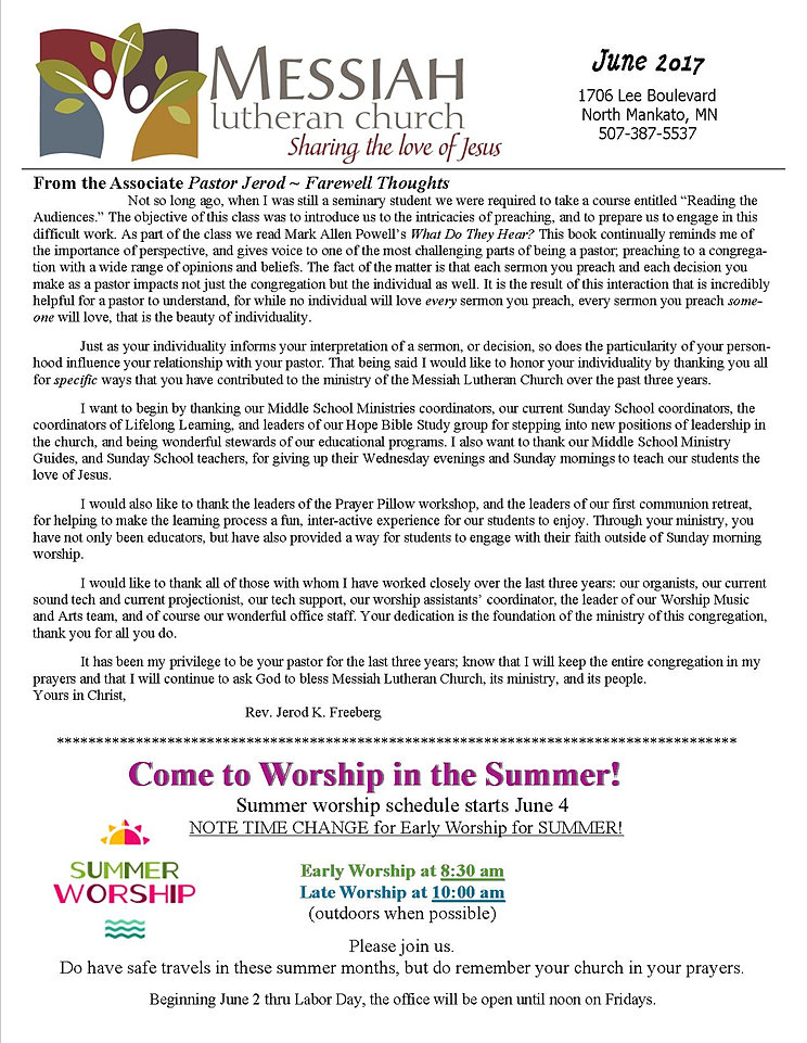 lutheran church newsletter articles