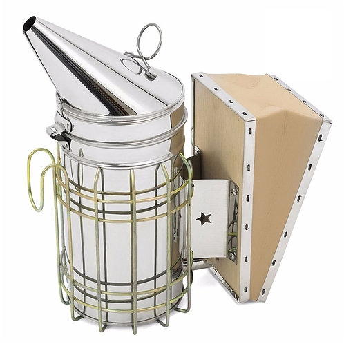 1 Pc Stainless Steel Bee Hive Smoker Galvanized Iron With Heat Shield Protection