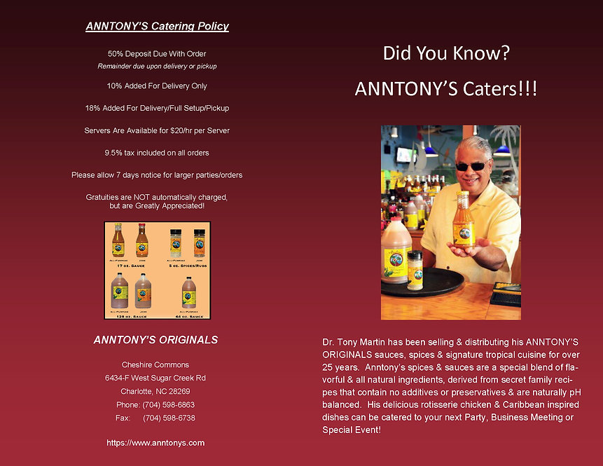 Anntony's Caribbean Catering Menu Page 1