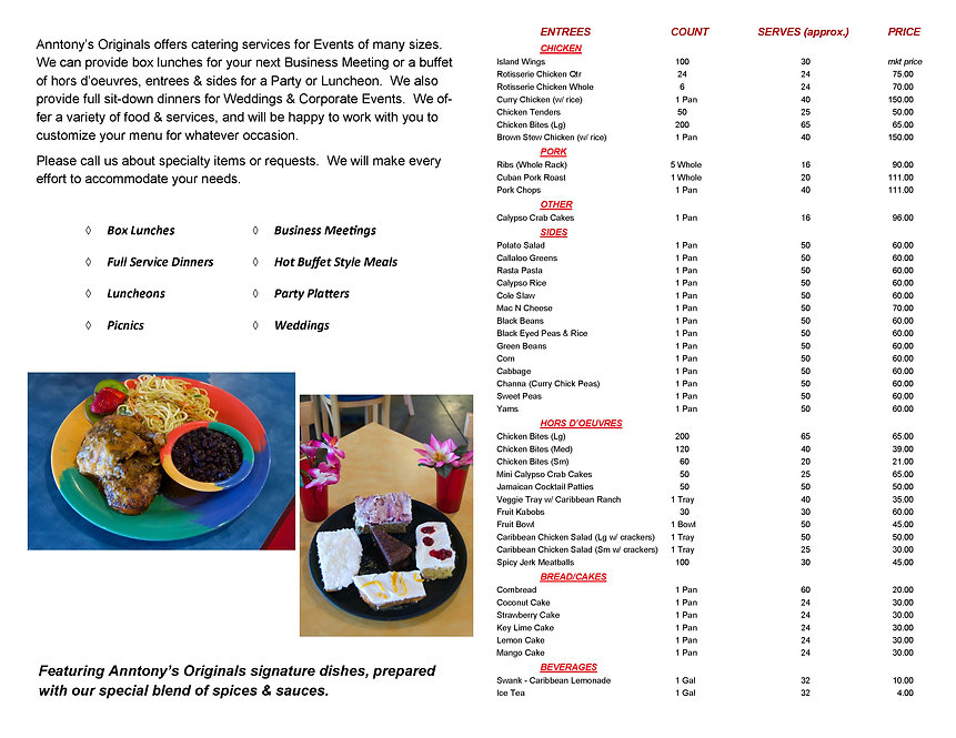 Anntony's Caribbean Catering Menu Page 2