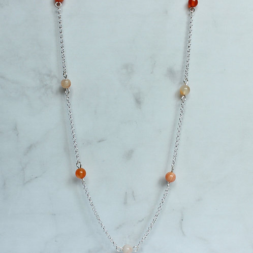 Carnelian Gemstone and Sterling Silver Necklace, eco friendly, handmade jewellery
