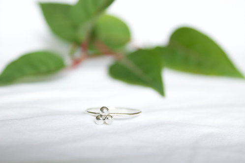 sterling silver pebble trio ring, eco friendly, sterling silver ring
