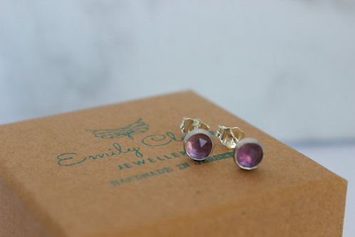 Amethyst sterling silver stud earrings, handmade jewellery, eco-friendly