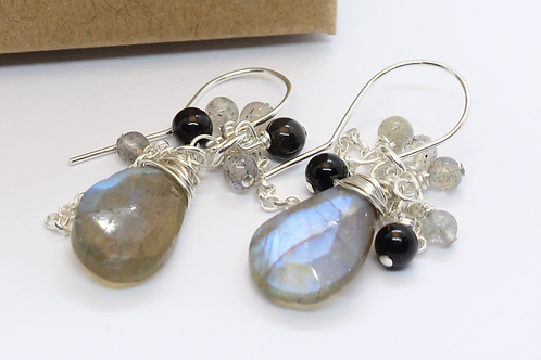 labradorite and back agate earrings, eco friendly, sterling silver earrings, recycled silver earrings