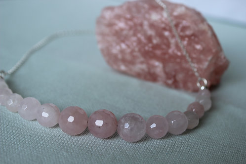 Rose Quartz and sterling silver necklace, eco friendly, handmade jewellery