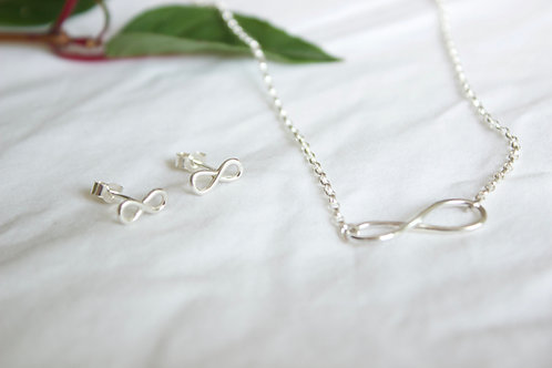 Sterling silver infinity loop earring and necklace , sterling silver necklace, eco-friendly, handmade jewellery