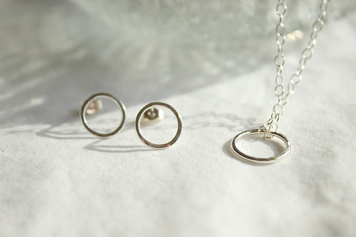 Sterling silver circle earrings and necklace set , sterling silver earrings, eco-friendly, handmade jewellery