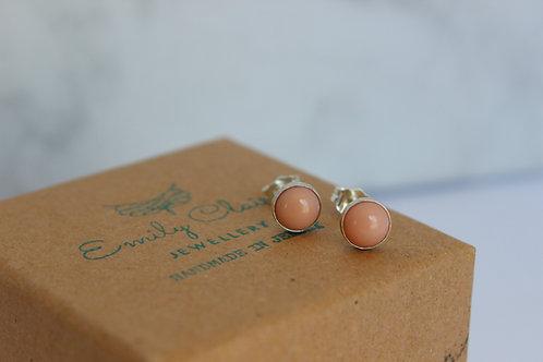 Pink Coral sterling silver stud earrings, handmade jewellery, eco-friendly