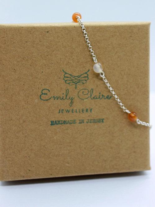 Carnelian and silver bracelet, handmade jewellery