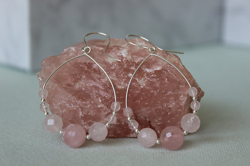 Rose Quartz earrings, eco friendly, sterling silver earrings, recycled silver earrings, boho jewellery