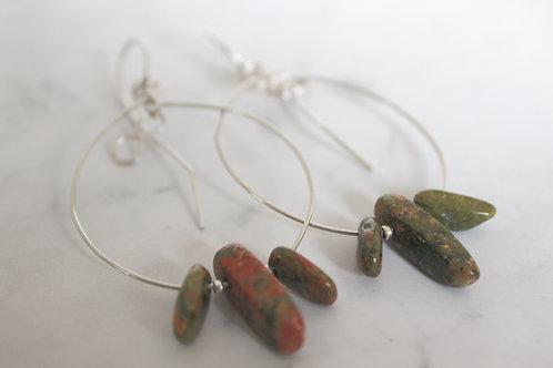 Unakite Jasper Infinity Loop Earrings
