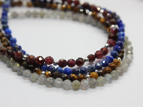 Delicate faceted gemstone stacking bracelets, eco friendly, handmade jewellery