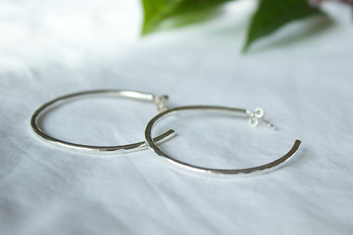Sterling silver hoop earrings , sterling silver earrings, eco-friendly, handmade jewellery