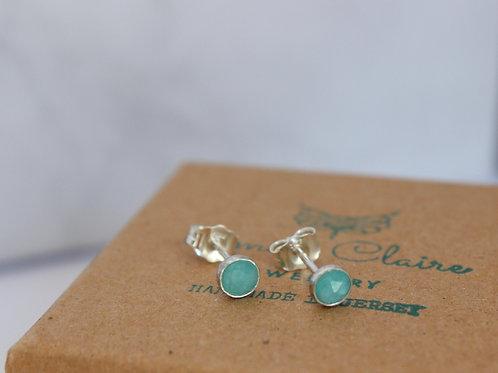 Amazonite sterling silver stud earrings, handmade jewellery, eco-friendly