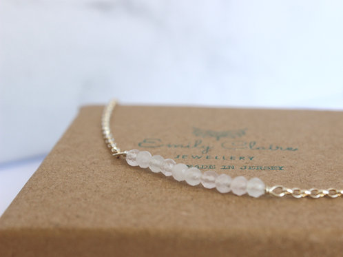 Rose Quartz Bar Bracelet, eco-friendly, ethically sourced gemstones, handmade jewellery, sterling silver