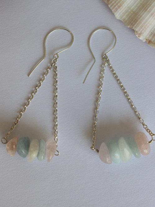 Mixed Beryl Earrings, Recycled Silver Earrings, Gemstone earrings