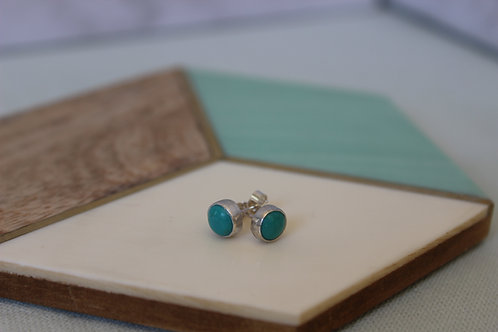 Turquoise sterling silver stud earrings, handmade jewellery, eco-friendly