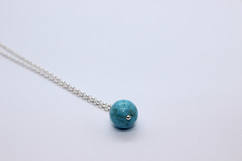 Turquoise drop necklace, sterling silver, eco friendly handmade jewellery